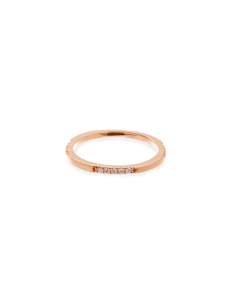 14K Rose Gold Expose Ring with Diamonds, Size 7