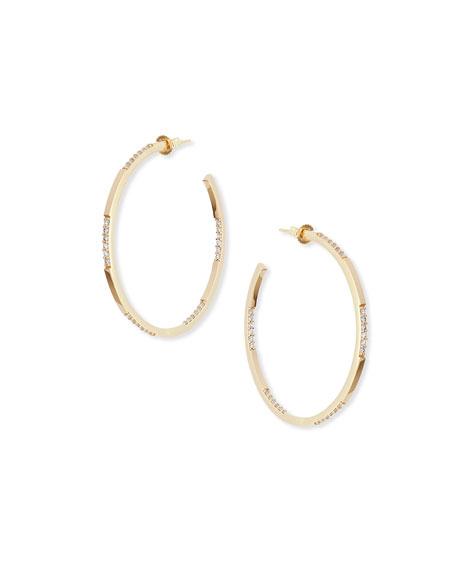 14K Small Expose Hoop Earrings with Diamonds