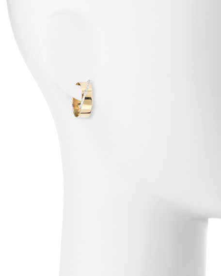 Small Vanity Expose 14K Gold & Diamond Huggie Hoop Earrings
