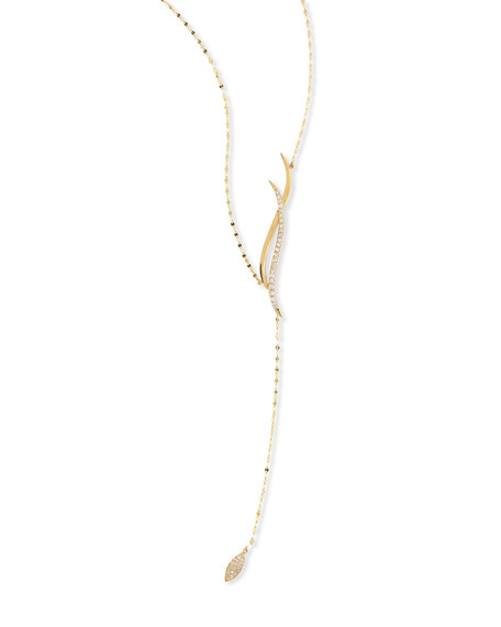 14K Expose Wavelength Lariat Necklace with Diamonds