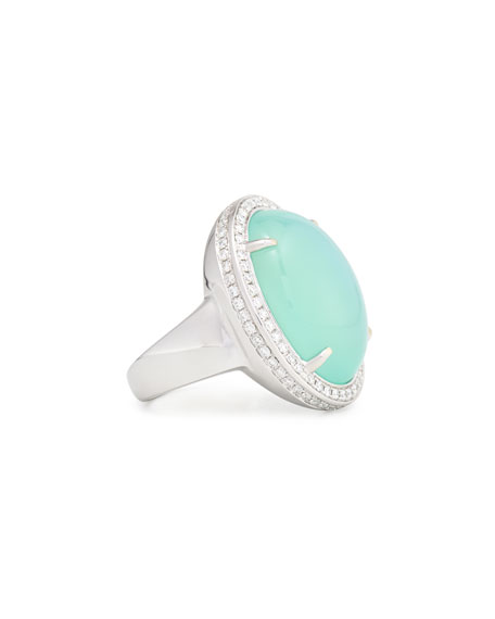 Oval Aqua Chalcedony Cabochon Ring with Diamonds, Size 6.5