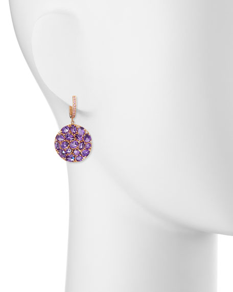 Signature 18K Rose Gold Amethyst & Pink Sapphire Round Drop Earrings