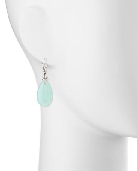 Signature Aqua Chalcedony Pear Drop Earrings with Diamonds