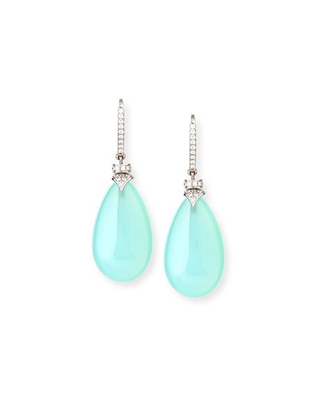 Signature Aqua Chalcedony Pear Drop Earrings with Diamonds