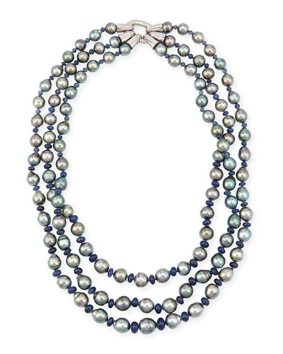Three-Strand Tahitian Pearl & Sapphire Necklace with Diamonds