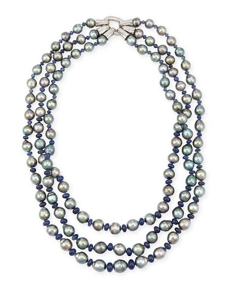 Three-Strand Tahitian Pearl & Sapphire Necklace with Diamonds