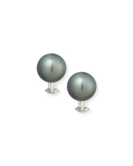 Assael 18K Tahitian Pearl Button Earrings