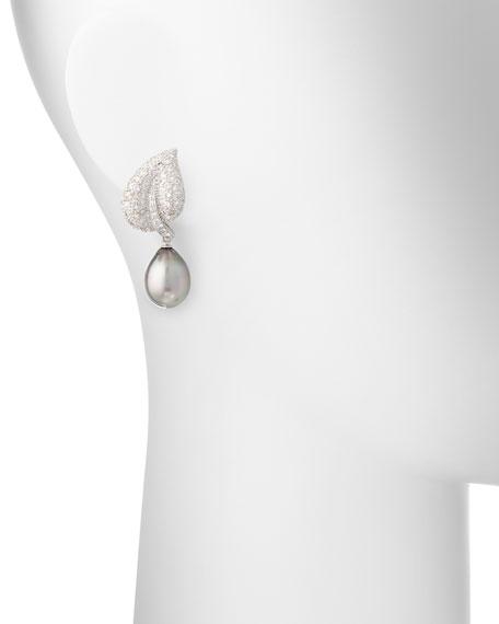 18K Tahitian Pearl & Diamond Leaf Drop Clip Earrings