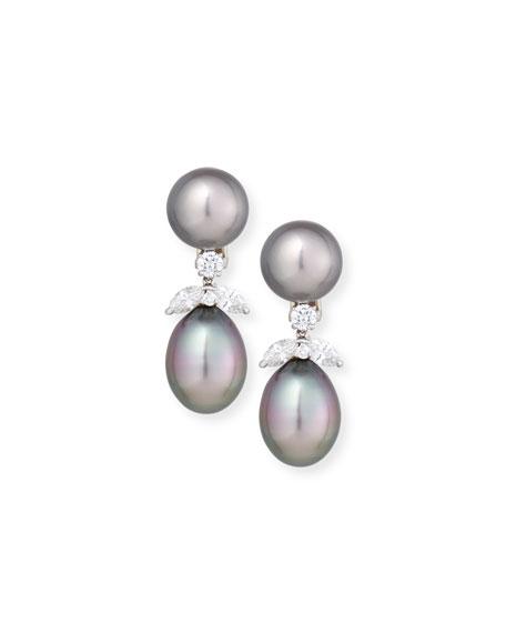 Assael 18K Tahitian Pearl & Diamond Double-Drop Earrings
