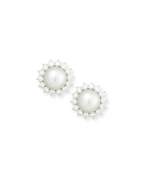South Sea Pearl & Diamond Flower Button Clip Earrings