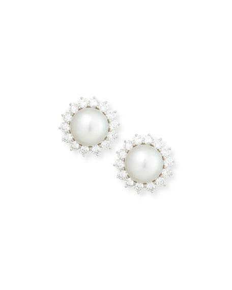 South Sea Pearl & Diamond Flower Button Clip Earrings