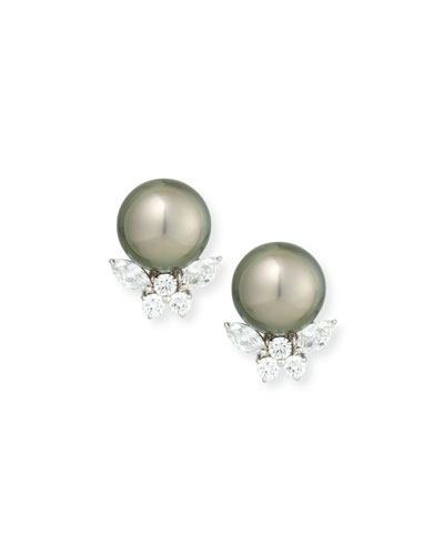 Tahitian Pearl & Diamond Stud Clip Earrings