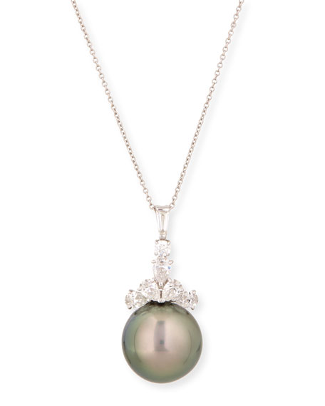 Assael Tahitian Pearl & Diamond Pendant Necklace, 18