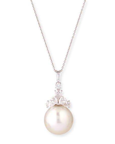 tw ct diamond pearl tahitian pendant south sea golden gold white
