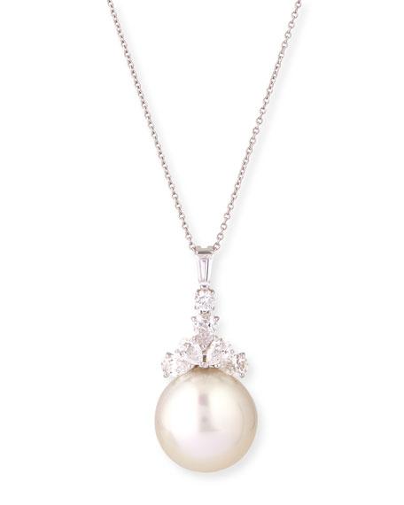 South Sea Pearl & Diamond Pendant Necklace, 18
