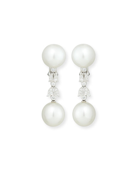 Assael South Sea Pearl Button & Diamond Drop Clip/Post Earrings pnU8LAX