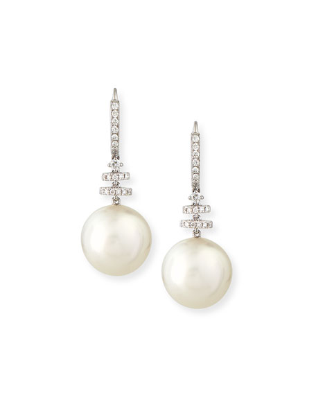 Avenue 18K White Gold South Sea Pearl & Diamond Drop Earrings