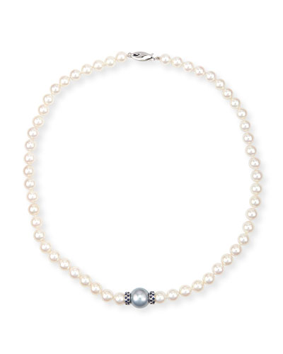 Aura 18K White Gold Pearl & Blue Sapphire Necklace