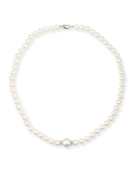 Aura 18K White Gold Pearl & Diamond Necklace