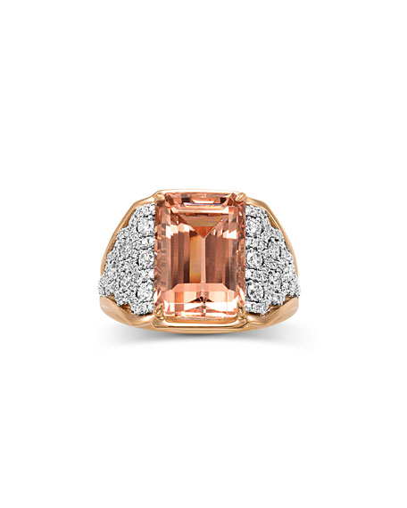 18K Emerald-Cut Morganite & Diamond Ring, Size 7