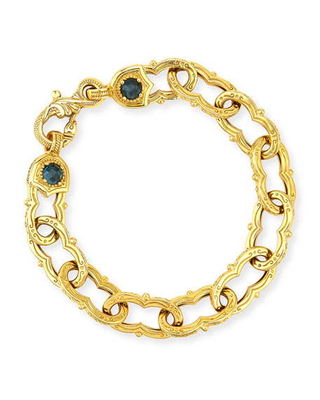KONSTANTINO Flamenco Chain Link London Blue Sapphire Bracelet
