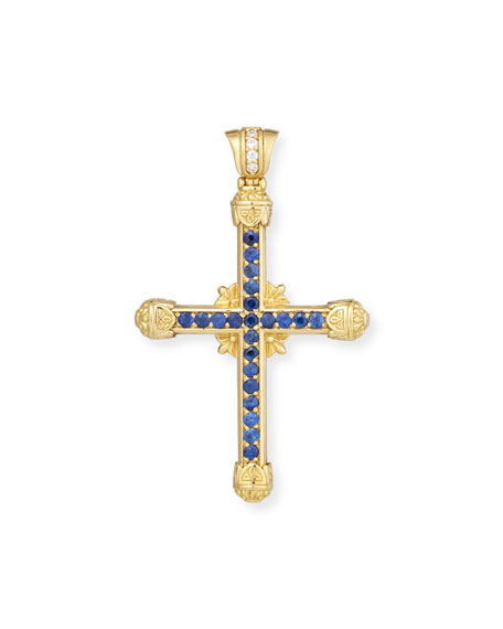 Flamenco Blue Sapphire & Diamond Cross Pendant