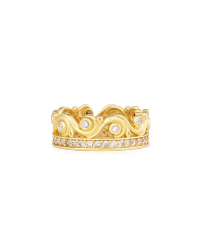 Flamenco 18K Diamond Swirl Ring, Size 7