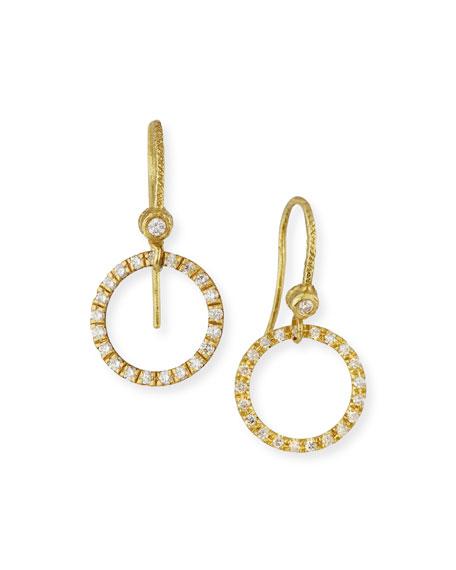 Dominique Cohen 18K Yellow Gold & White Diamond Round Drop Earrings