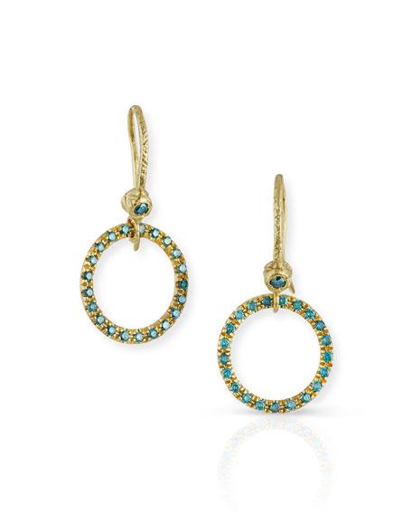 18K Yellow Gold & Blue Diamond Round Drop Earrings