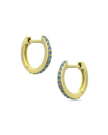 18K Yellow Gold & Blue Diamond Huggie Hoop Earrings