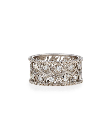 Buccellati Ramage 18K White Gold Diamond Ring, 0.69 tdcw, Size 54
