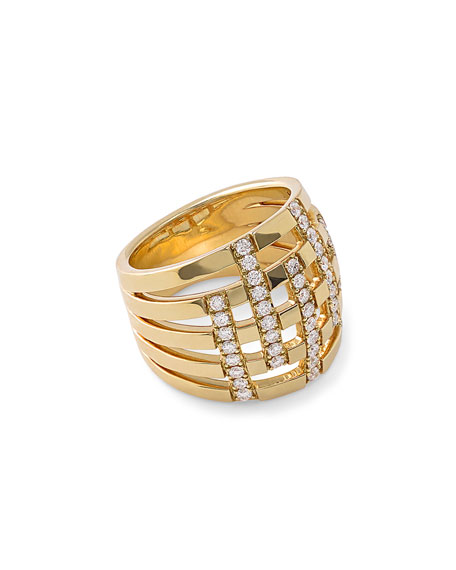 18K Glamazon Stardust Five-Band Dome Ring with Diamonds, Size 7