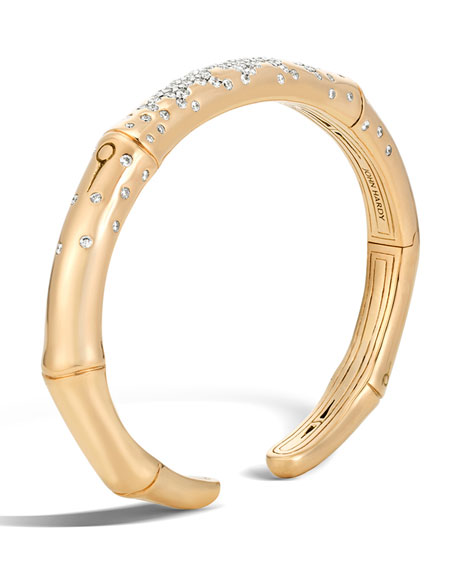 John Hardy Bamboo 7mm 18k Gold Diamond Kick