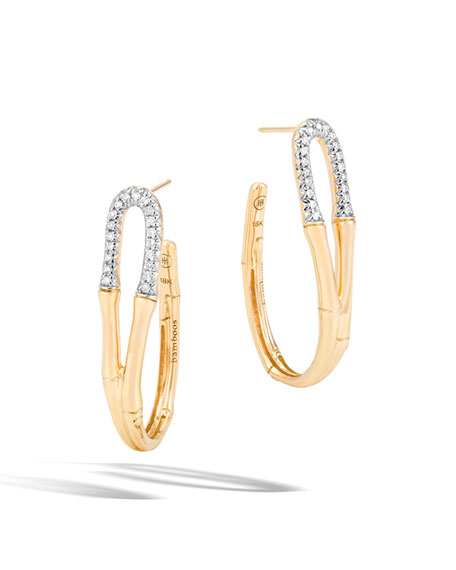 Bamboo Medium 18K Gold Hoop Earrings with Diamonds