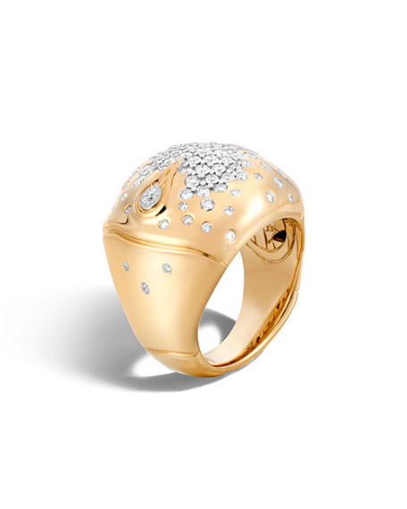 John Hardy Bamboo 18k Gold Diamond Dome Ring
