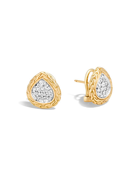 Classic Chain Pavé Diamond Teardrop Earrings