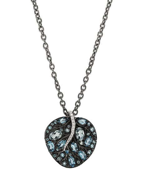 Michael Aram Botanical Leaf Pendant Necklace with Blue