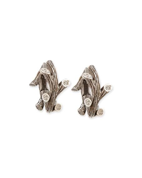 Twig Rhodium-Plated Diamond Hoop Earrings