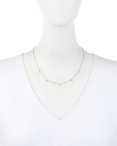 Beads 14K Rose Gold & Five-Solitaire Diamond Necklace