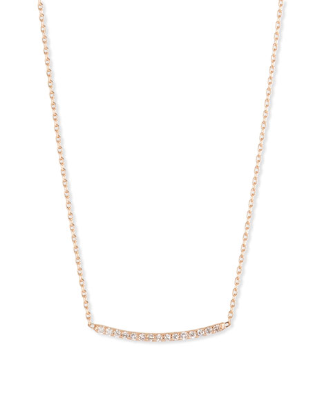 Kismet by Milka Lumiere 14K Rose Gold & Champagne Diamond Bar Necklace ...
