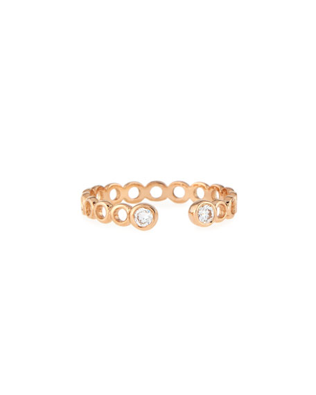 Beads 14K Rose Gold & Diamond Hollow Pinky Ring, Size 3.75