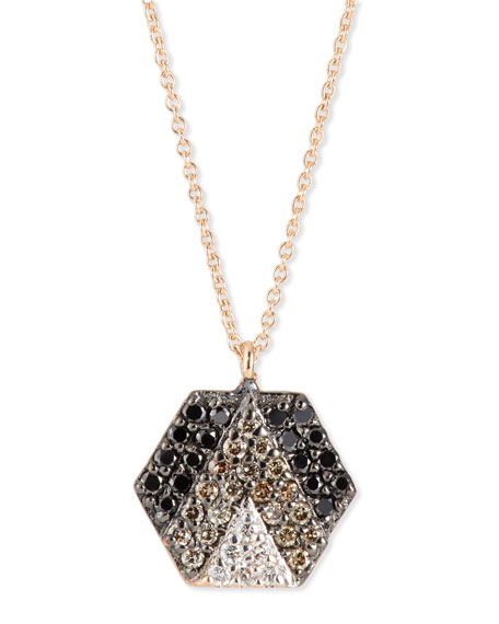 Sheriff Star 14K Rose Gold & Ombre Diamond Hexagon Necklace