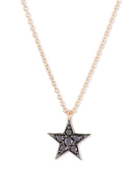 Kismet by Milka 14K Rose Gold Black Diamond Star Necklace Neiman