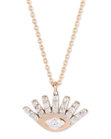 Protect Me 14K Rose Gold & Diamond Evil Eye Necklace