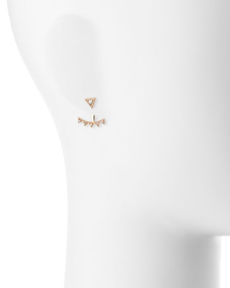 Prom 14K Rose Gold & Diamond Crown Jacket Earring