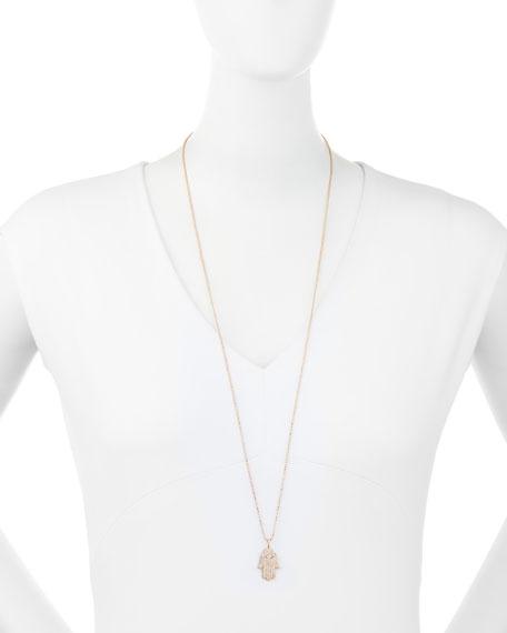 Large Pavé Diamond Hamsa Necklace