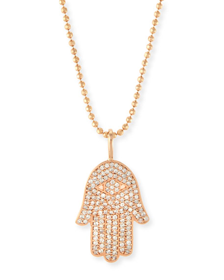 Large Pavé Diamond Hamsa Necklace