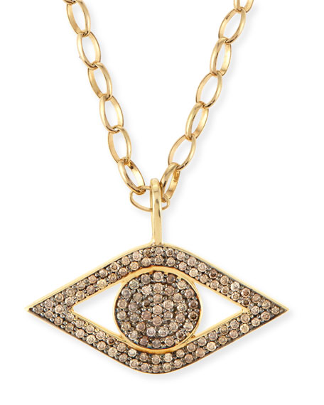 Large Pavé Diamond Evil Eye Pendant Necklace