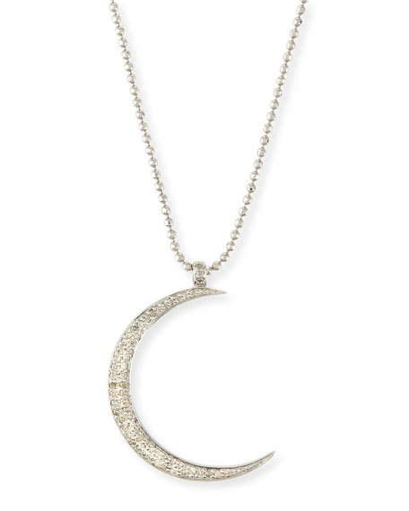 Sydney evan large pav diamond crescent moon pendant necklace large pav diamond crescent moon pendant necklace aloadofball Image collections