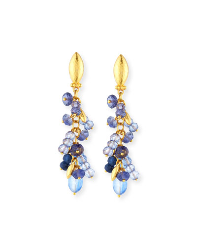 Blue Rain Flurries Cluster Drop Earrings